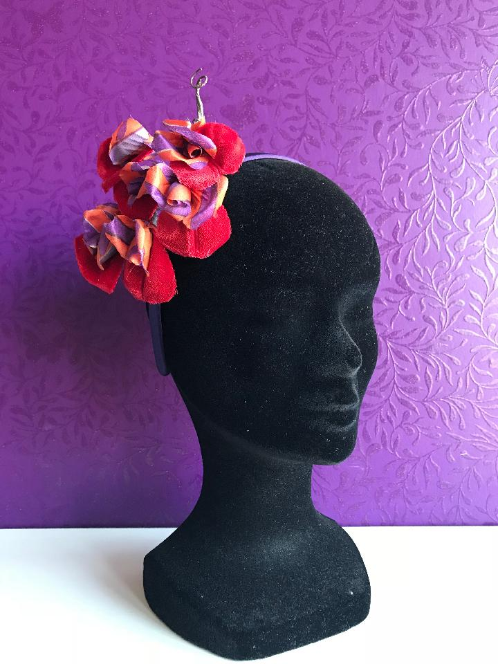 IMAGE - Thin purple satin headband with handmade flowers. 