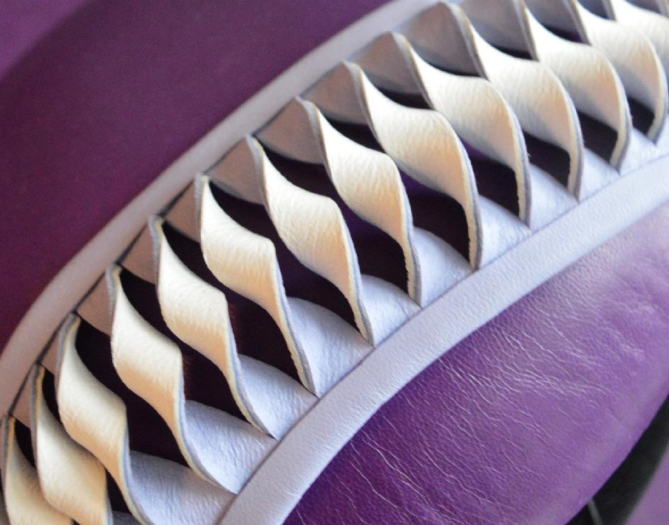 IMAGE - Handblocked purple leather beret. Decorated with white and lilac leather swirl.