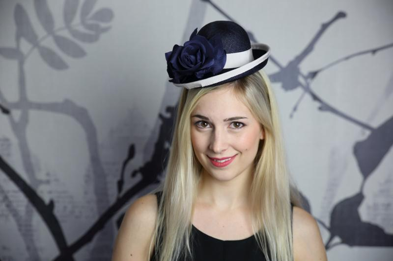 IMAGE - Hand blocked navy straw hat, finished with light grey ribbon and navy silk rose.