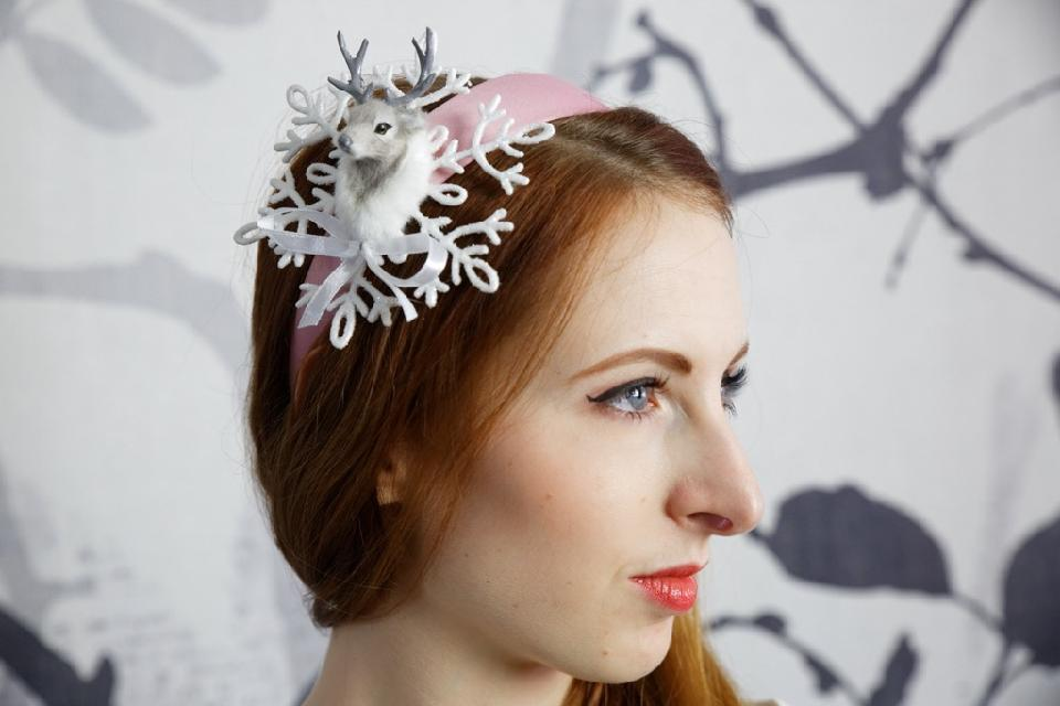 IMAGE - Pink satin headband with glittered snowflake and deerhead.