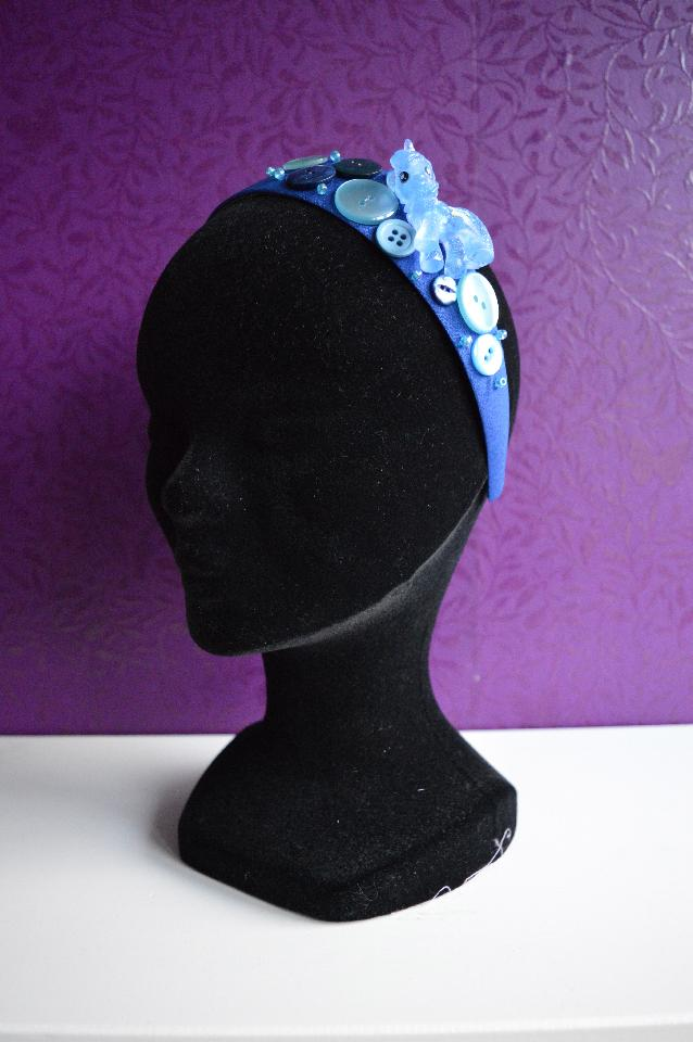 IMAGE - Blue headband with blue glittered pony and buttons.