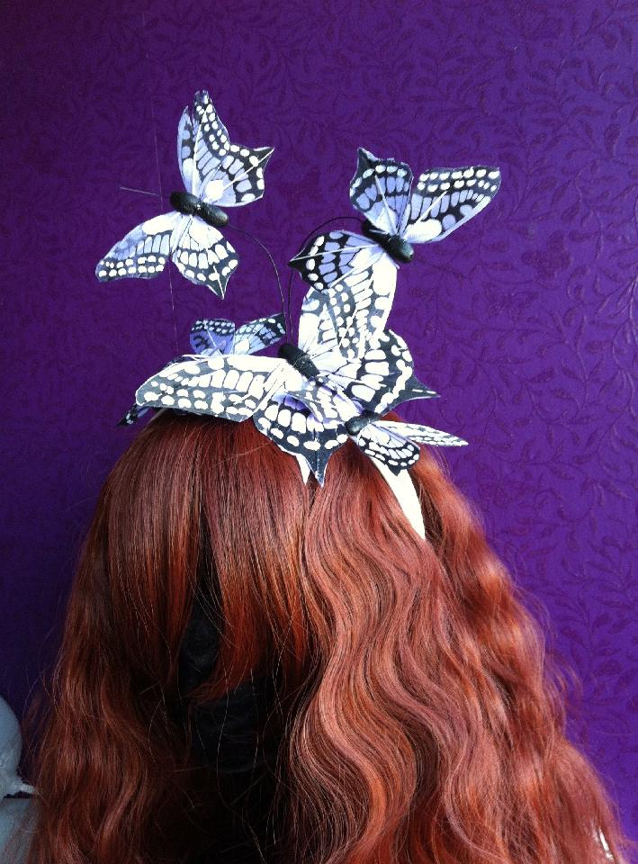 IMAGE - White satin headband with purple butterflies.
