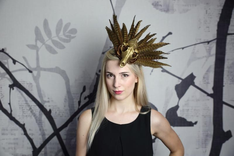 IMAGE - Fascinator with real gold painted fox skull, brown ribbon flowers and lots of real pheasant feathers. Secures with both a comb and elastic that runs behind the head.